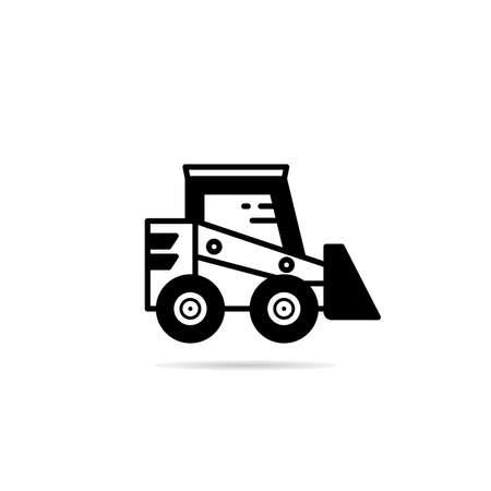 bulldozer icon with drop shadow vector illustration