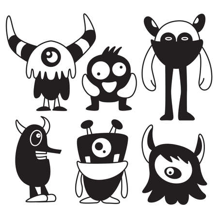 doodle funny monsters characters