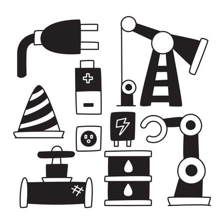 industry icons, battery, robot oil rig hand drawn doodle Stock Illustratie
