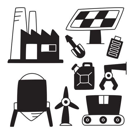 industry and tool icons hand drawn doodle
