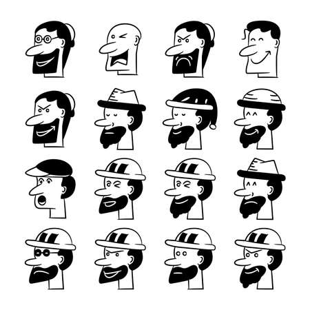 male cartoon face character avatar icons set