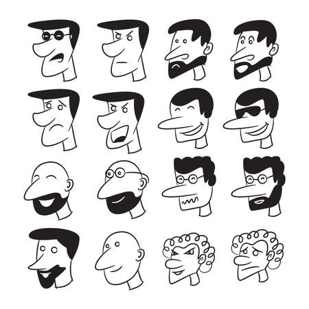 male face cartoon character avatar icons set