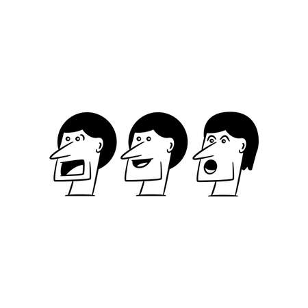 comic face avatars and characters on white background
