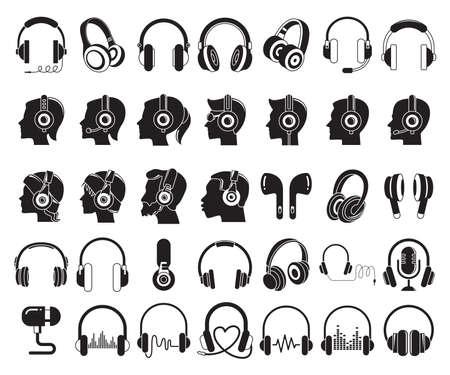 headphone and listening music icons set Vektorové ilustrace