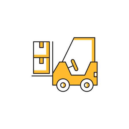 forklift yellow theme icon vector illustration