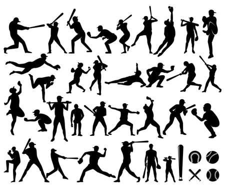 baseball, softball player silhouette vector illustration