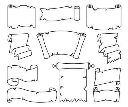 blank ancient paper scroll line vector set