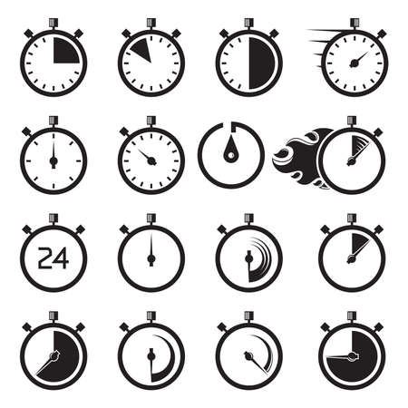 timekeeper, timer and speedometer icons set vector
