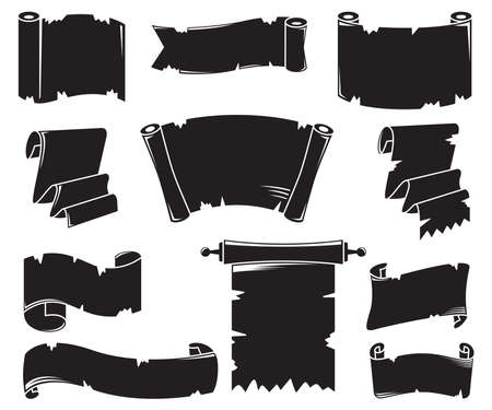 silhouette blank paper scroll vector set