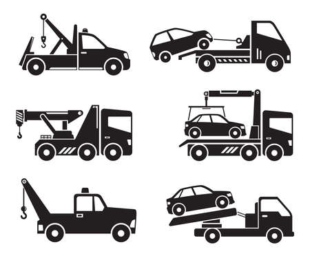tow truck service icons vector illustration