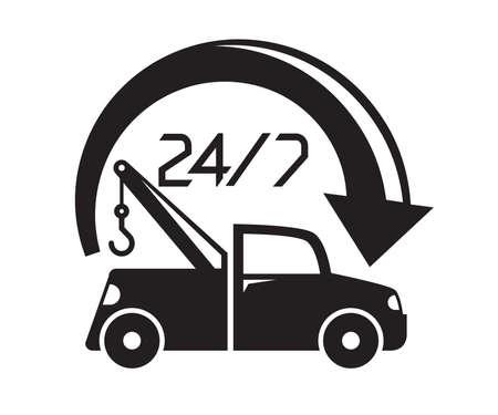 tow truck service 24/7 vector illustration Vektoros illusztráció