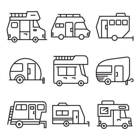 RV camper car icons set line vector