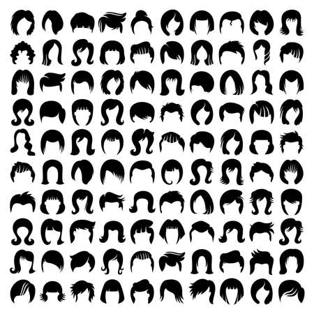 hair style and wig icons set vector