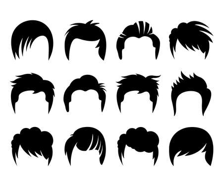 woman and man hairstyle silhouette vector set