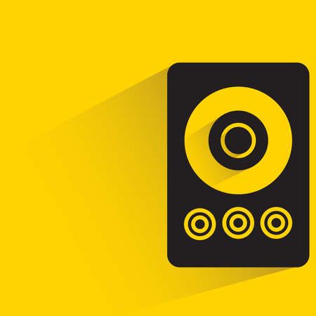 loudspeaker with drop shadow on yellow background