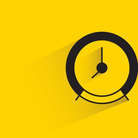 alarm clock with drop shadow on yellow background Çizim