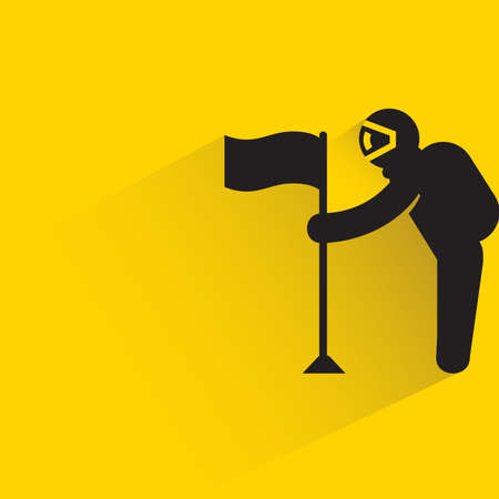 astronaut holding flag with drop shadow on yellow background