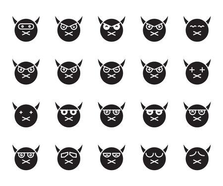devil face emoticons and avatar icons set glyph Ilustração