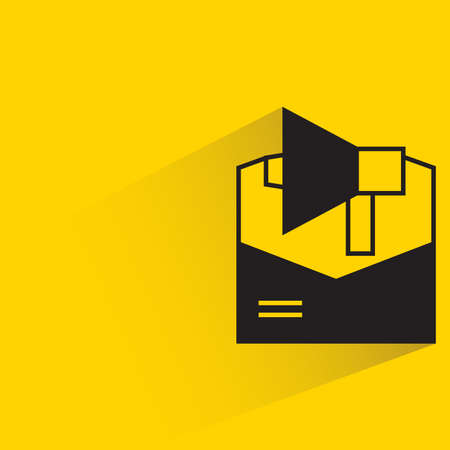 email and megaphone for email marketing concept with shadow on yellow background