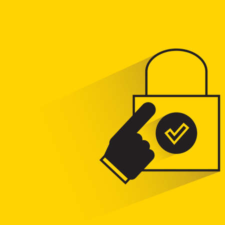 finger touching on shopping bag on yellow background Vektorové ilustrace