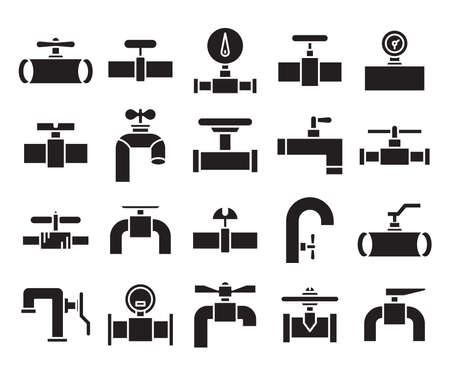 valve, faucet and hydrant pipe line icons glyph
