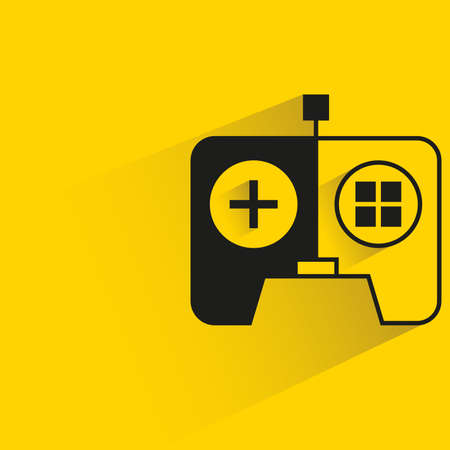 game controller with shadow yellow background