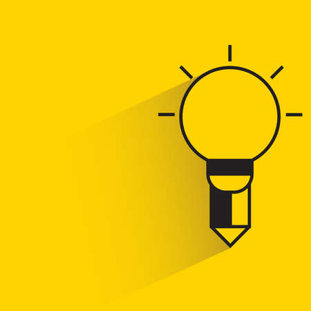 light bulb pencil for creativity concept with shadow yellow background Vettoriali