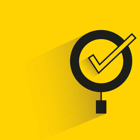 magnifier and check mark with shadow yellow background