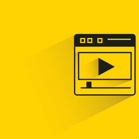 media player on web with shadow yellow background