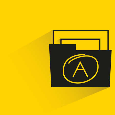 grade A folder with shadow yellow background