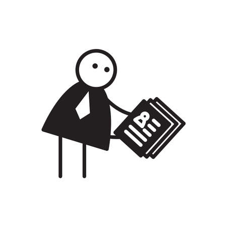 doodle businessman stick figure holding job application