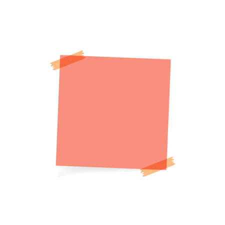 pink note or memo paper on white background vector