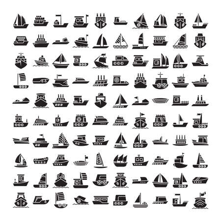 big set of ship, vessel, sailing boat, speed boat, container vessel icons glyph design Vektorgrafik
