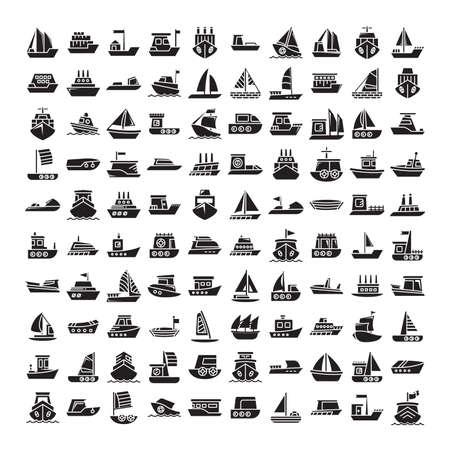 big set of ship, vessel, sailing boat, speed boat, container vessel icons glyph design Ilustração Vetorial