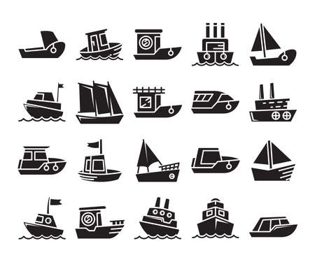 various types of ship; cruise, speedboat, cargo ship, barge, tugboat, galleon, ferry and yacht Illustration