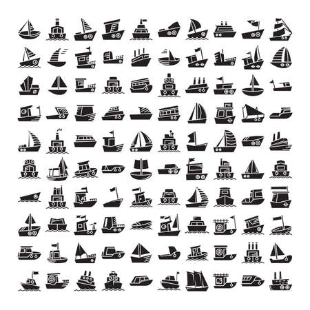 big set of ship, vessel, sailing boat, speed boat, container vessel icons glyph design