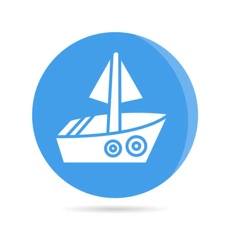 ship, boat, yacht in blue circle background vector Illustration