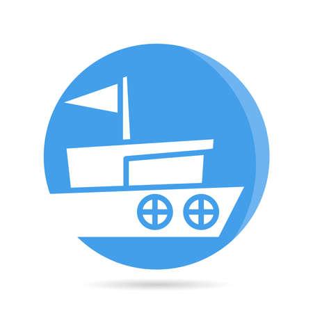 ship, sailing boat , vessel icon blue circle button