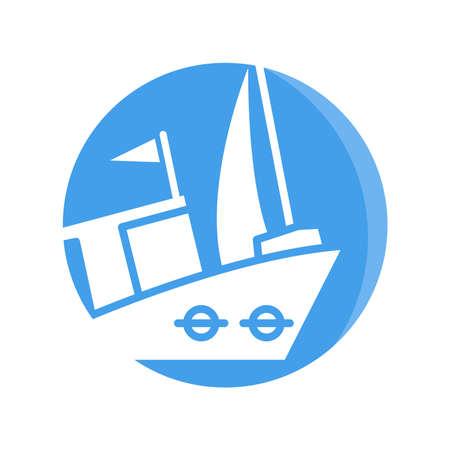 ship, sailing boat, vessel icon blue circle button Ilustração Vetorial