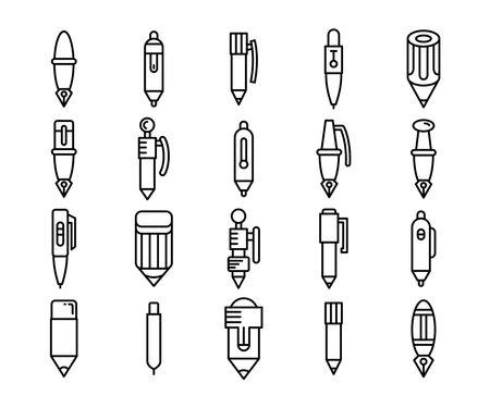 pen and pencil icons line design vector set