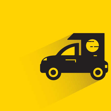 mini truck with shadow on yellow background