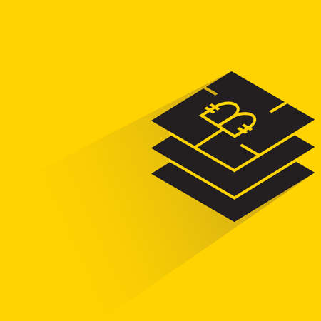 bitcoin microchip with shadow on yellow background vector