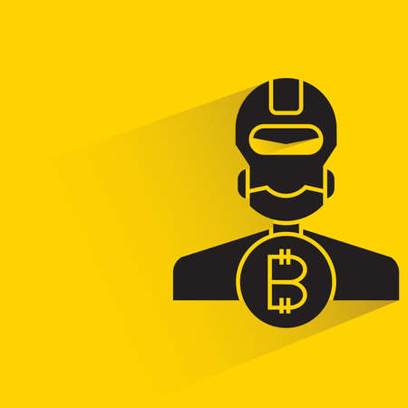 robot and bitcoin with shadow on yellow background vector