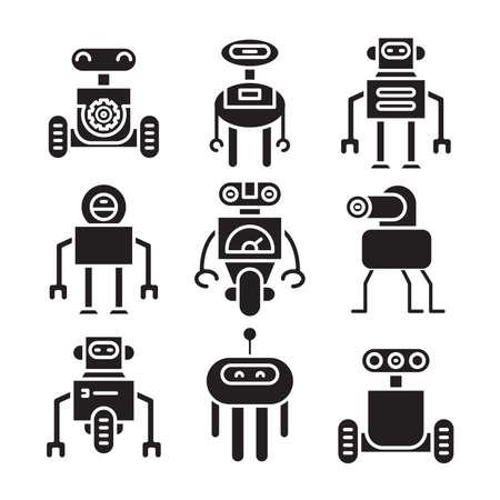 robot icon set vector illustration