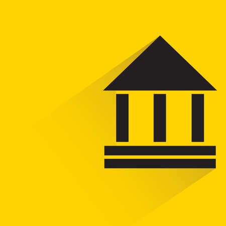 bank with shadow on yellow background