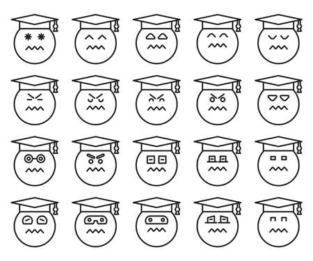 graduate student emoticons set vector Vector Illustration