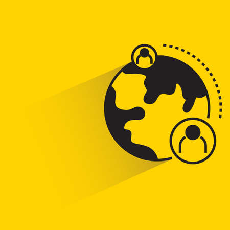 globe and people for communication concept with shadow on yellow background