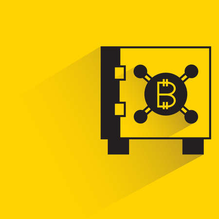 safe and bitcoin icon with shadow on yellow background Vector Illustration