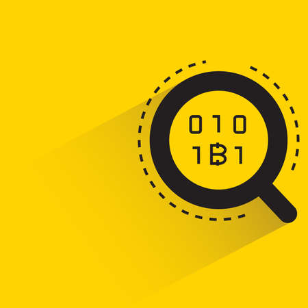 magnifier and bitcoin symbol with shadow on yellow background