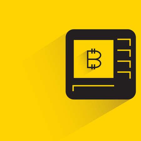 bitcoin money machine icon with shadow on yellow background Ilustración de vector